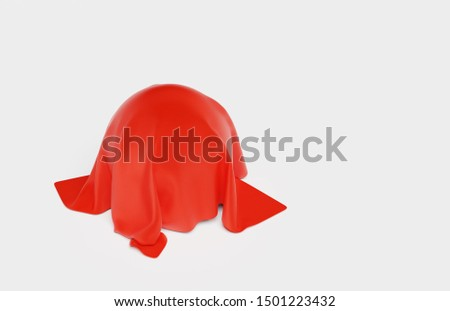 3D illustration of One big Ball under a Red Fabric piece with a White Background #1501223432