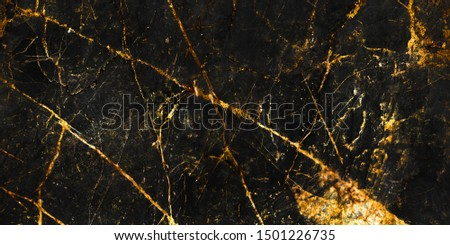 black marble with golden veins ,Black marbel natural pattern for background, abstract black white and gold, black and yellow marble, hi gloss marble stone texture for digital wall tiles design.  #1501226735
