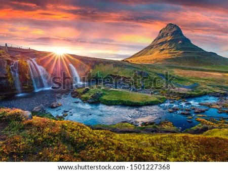 Unbelievable evening view of popular tourast destination - Kirkjufellsfoss Waterfall. Great summer sunrise on Snaefellsnes peninsula, Iceland, Europe. Beauty of nature concept background. #1501227368