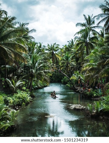 River flowing through a palm tree jungle with a raft and people/swimmer on the bank next to it in Siargao, Philippines #1501234319
