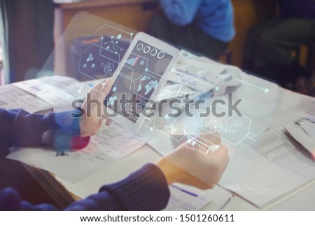 business hand working with new modern Digital tablet computer and business strategy as concept #1501260611