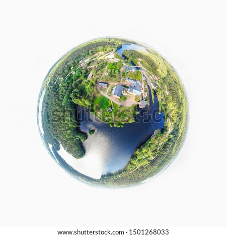 A three dimensional panoramic view of the Verla in Kouvola, Finland in a mini planet panorama style. Royalty-Free Stock Photo #1501268033