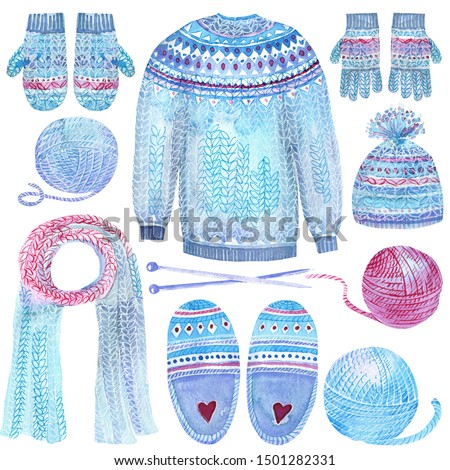 Winter Clip Art set with knitted pullover, cardigan, cap, gloves wool, mittens, knitting needle. Isolated elements on a white background. Hand painted in watercolor. Christmas stock illustration.