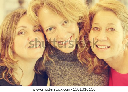 Portrait of three beautiful 40 years old woman traveling together #1501318118