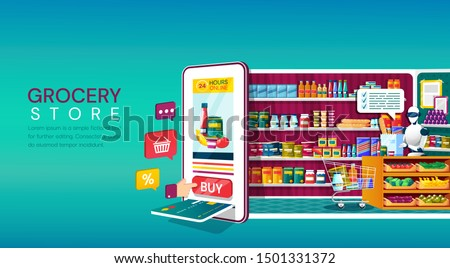 Online Grocery Store shopping concept with a mobile phone with card slot and shopping icons backing onto a fully stocked store,with assistant behind a counter in a colorful cartoon vector illustration #1501331372