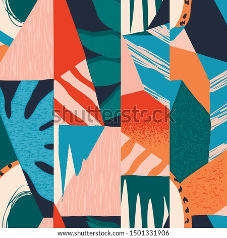 Abstract tropical seamless pattern with palm leaves and monstera. Abstract fun color pattern cartoon textured doodle geometric background in vector. #1501331906