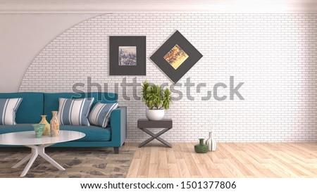 Interior of the living room. 3D illustration. #1501377806