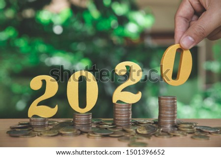 Growth Forecast Concept For 2020- Coins Stack On Wooden Blocks