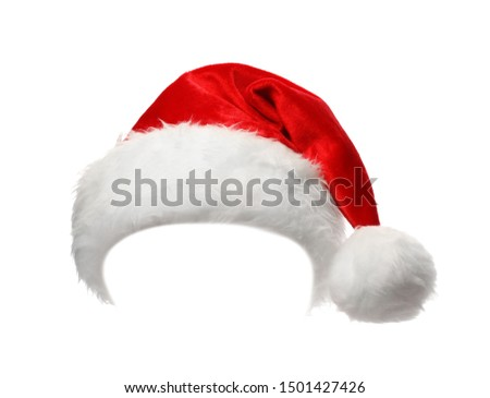 Santa Claus red hat isolated on white Royalty-Free Stock Photo #1501427426