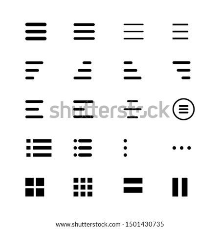 Minimal Set of Hamburger Menu Flat Icons. Menu Icons Vector Set of UI Design Elements. Interface Design Vector Icon Set of hamburger Menu. Website Navigation Icons for Mobile App and User Interface. Royalty-Free Stock Photo #1501430735