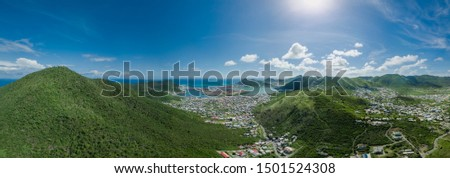 Panoramic drone view over Philipsburg in Saint Martin Sint Maarten #1501524308