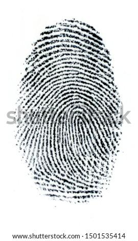 Finger Print on white Paper. Black and White. #1501535414