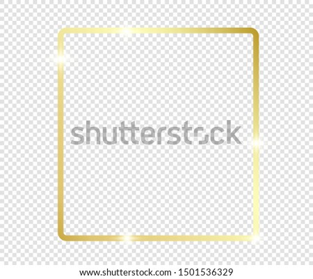 Gold shiny glowing frame with shadows isolated on transparent background. Golden luxury vintage realistic rectangle border. illustration - Vector #1501536329
