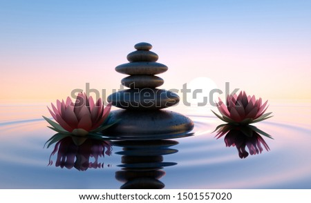 Stack of stones in calm water with lotus flowers - concept of meditation - 3D illustration #1501557020