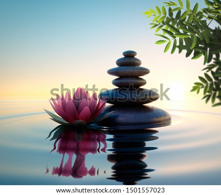 Stack of stones in calm water with lotus flower - concept of meditation - 3D illustration #1501557023