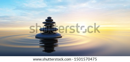 Stack of stones in calm water with view to the sunset - 3D illustration #1501570475