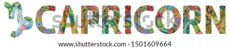 CAPRICORN zodiac sign cute cartoon character retro zentangle stylized in vector #1501609664