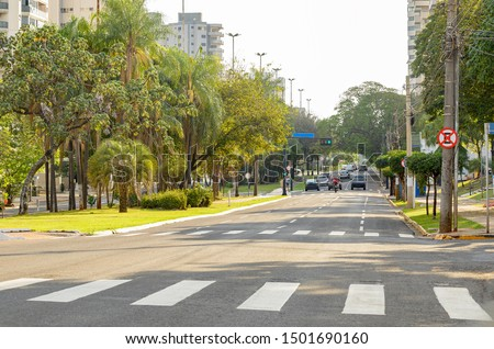 Lined-tree avenue with few cars on the street. Large avenue of a green city. Afonso Pena avenue at Campo Grande - MS, Brazil. Royalty-Free Stock Photo #1501690160