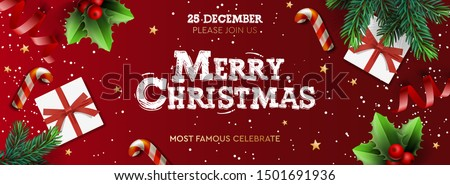 Merry Christmas banner, Xmas Party with gifts box, green pine branches, candy stick and holly berry. Horizontal Christmas posters, greeting cards, headers, website. Objects viewed from above #1501691936