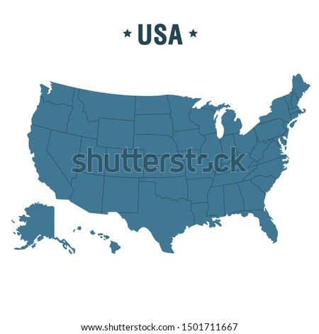 Vector Icon American states map.  Image USA map with regions. Illustration America states map in flat style