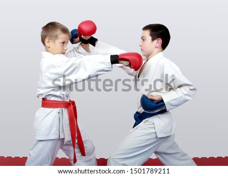 With blue and red belt boys train paired exercises karate #1501789211