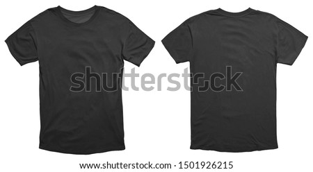 Blank black shirt mock up template, front and back view, isolated on white, plain t-shirt mockup. Tee sweater sweatshirt design presentation for print. #1501926215