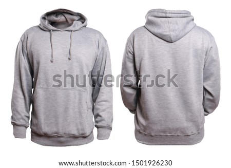 Blank sweatshirt mock up, front, and back view, isolated on white. Plain gray hoodie mockup. Hoody design presentation. Jumper for print. Blank clothes sweat shirt sweater #1501926230