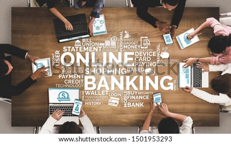 Online Banking for Digital Money Technology Concept. Graphic interface showing money transfer on internet website and digital payment service. #1501953293