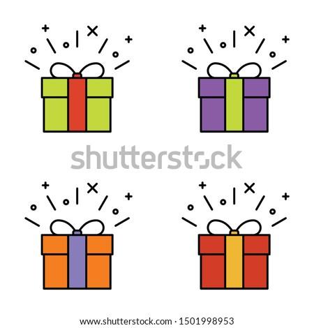 Set of gift box on white background, vector illustration #1501998953