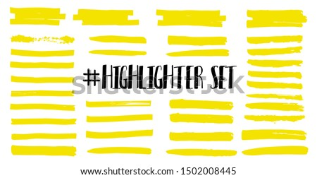 Highlight brush lines. Marker color stroke, brush pen hand drawn underline. Yellow watercolor hand drawn highlight set. Vector abstract graphic stylish element. Vector collection #1502008445