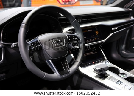Germany, Frankfurt - 10.September 2019: Audi A6 allroad quattro tiptronic  - Interior detail view - IAA Car Show Frankfurt 2019  #1502052452
