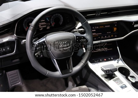Germany, Frankfurt - 10.September 2019: Audi A6 allroad quattro tiptronic  - Interior detail view - IAA Car Show Frankfurt 2019  #1502052467