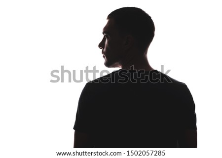 Silhouette portrait of man with his back looking away, isolated on white background #1502057285