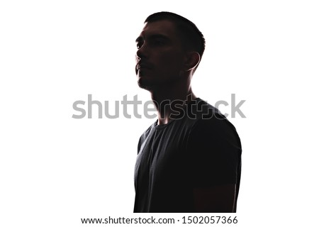 Silhouette portrait of young European man in profile isolated white background #1502057366