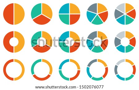 Pie chart set. Colorful diagram collection with 2,3,4,5,6 sections or steps. Circle icons for infographic, UI, web design, business presentation. Vector illustration. Royalty-Free Stock Photo #1502076077