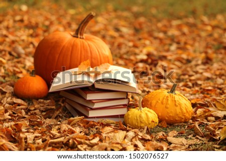 Autumn books. Reading books about autumn.Halloween books. Stack of books and orange pumpkins set on autumn foliage on blurred  background #1502076527