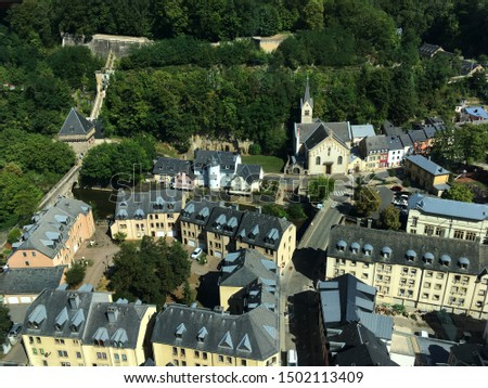 Aerial view of Luxembourg old city #1502113409