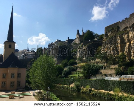 Scenic view of Luxembourg City old town #1502115524