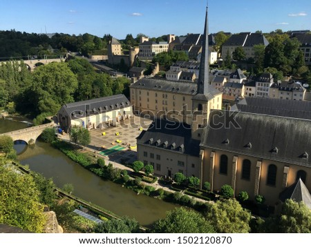 Aerial view of the Grund district with 17th century Neumünster Abbey, Luxembourg City #1502120870