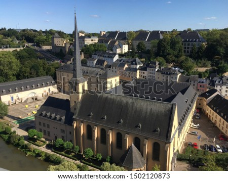 Aerial view of the Grund district with 17th century Neumünster Abbey, Luxembourg City #1502120873