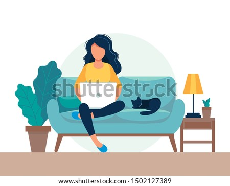 girl with laptop sitting on the chair. Freelance or studying concept. Cute illustration in flat style. Royalty-Free Stock Photo #1502127389