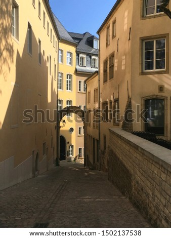 Pretty, historic street scene in old town Luxembourg City #1502137538