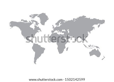 World map vector, isolated on white background. Flat Earth, gray map template for web site pattern, anual report, inphographics. Globe similar worldmap icon. Travel worldwide, map silhouette backdrop. #1502142599
