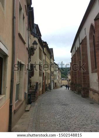historic Vianden empty street scene, Luxembourg #1502148815