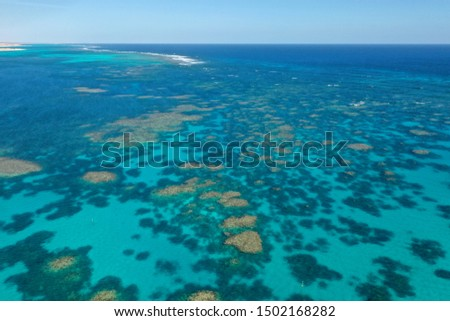 Coral Reef. Aerial photo of Ningaloo Reef in Australia. Shallow reefs are at risk from climate change  #1502168282