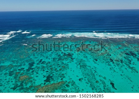 Coral Reef. Aerial photo of Ningaloo Reef in Australia. Shallow reefs are at risk from climate change  #1502168285