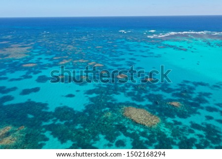 Coral Reef. Aerial photo of Ningaloo Reef in Australia. Shallow reefs are at risk from climate change  #1502168294