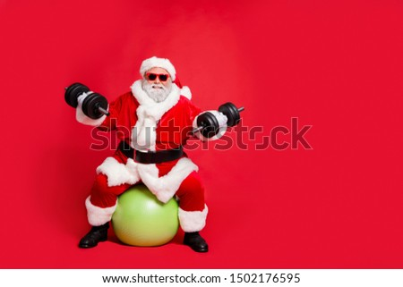 Full length body size view of his he cheerful funky fat overweight plump gray-haired bearded man sitting on ball crossfit making exercise isolated over bright vivid shine red background #1502176595