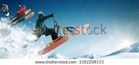 Skiing. Snow scoot. Snowboarding.  Extreme winter sports. #1502208113