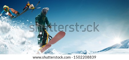 Skiing. Snow scoot. Snowboarding.  Extreme winter sports. #1502208839